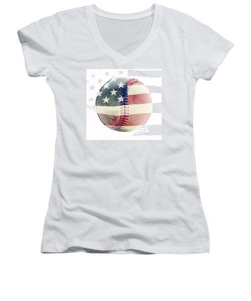 American Baseball Women's V-Neck T-Shirt (Junior Cut) by Terry DeLuco