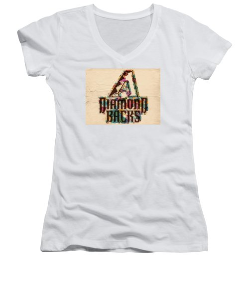 Arizona Diamondbacks Poster Vintage Women's V-Neck T-Shirt (Junior Cut) by Florian Rodarte