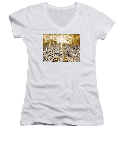 Austin Texas Abstract Panorama 6 Women's V-Neck T-Shirt (Junior Cut) by Bekim Art