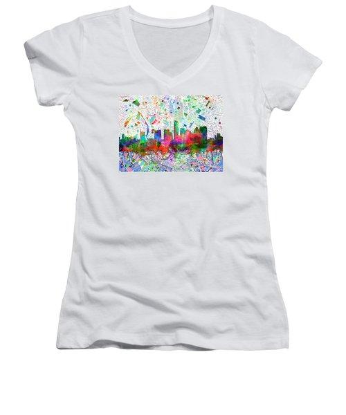 Austin Texas Abstract Panorama 7 Women's V-Neck T-Shirt (Junior Cut) by Bekim Art