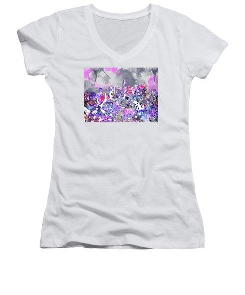 Austin Texas Watercolor Panorama2 Women's V-Neck T-Shirt (Junior Cut) by Bekim Art
