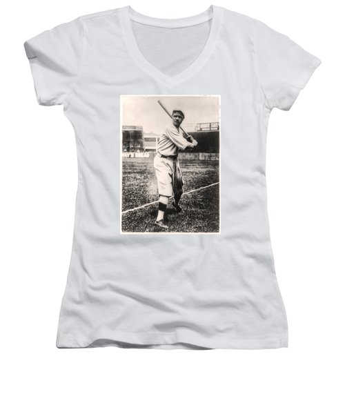 Babe Ruth Women's V-Neck T-Shirt (Junior Cut) by Digital Reproductions