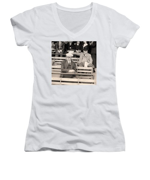 Babe Ruth In The Stands At Griffith Stadium 1922 Women's V-Neck T-Shirt (Junior Cut) by Mountain Dreams