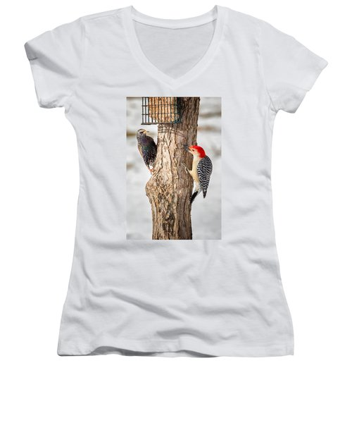 Bird Feeder Stand Off Women's V-Neck T-Shirt (Junior Cut) by Bill Wakeley