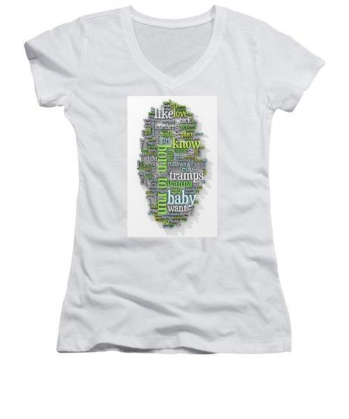 Born To Run Women's V-Neck T-Shirt (Junior Cut) by Scott Norris