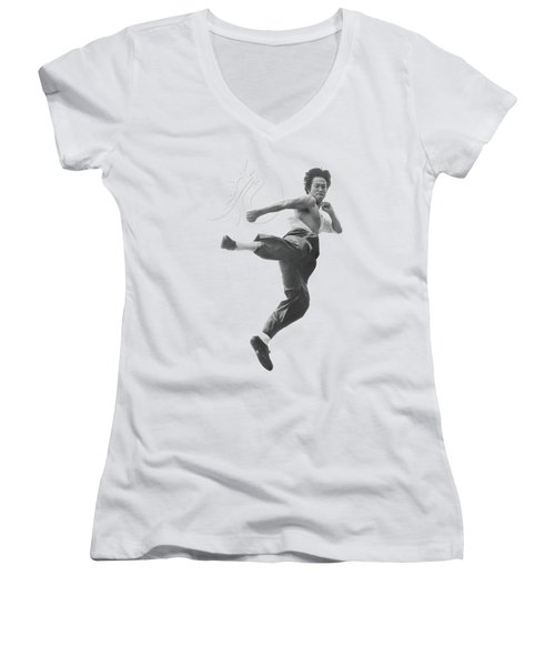 Bruce Lee - Flying Kick Women's V-Neck T-Shirt (Junior Cut) by Brand A