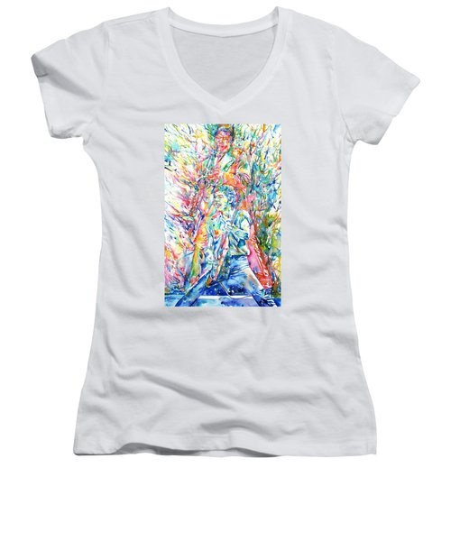 Bruce Springsteen And Clarence Clemons Watercolor Portrait Women's V-Neck T-Shirt (Junior Cut) by Fabrizio Cassetta