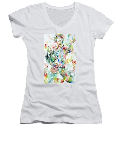 Bruce Springsteen Playing The Guitar Watercolor Portrait Women's V-Neck T-Shirt (Junior Cut) by Fabrizio Cassetta