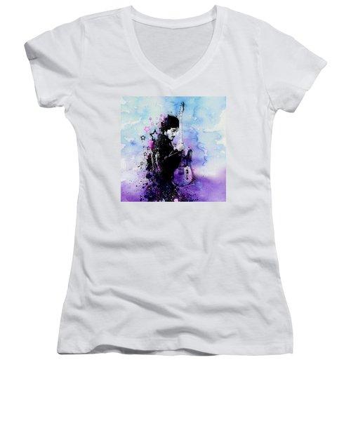 Bruce Springsteen Splats And Guitar 2 Women's V-Neck T-Shirt (Junior Cut) by Bekim Art