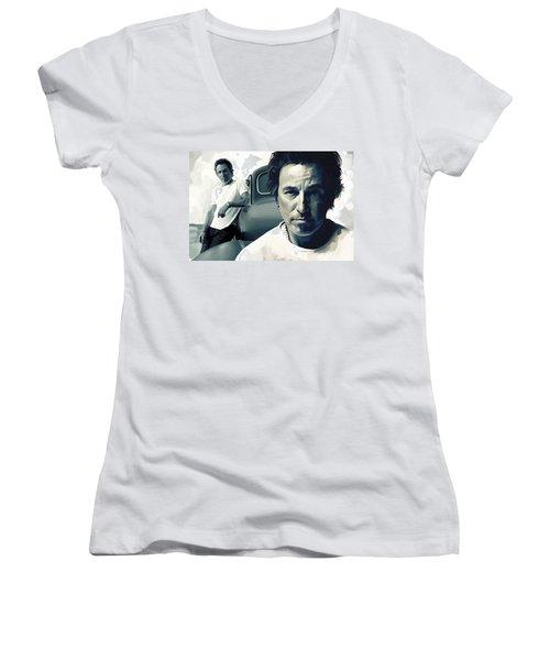 Bruce Springsteen The Boss Artwork 1 Women's V-Neck T-Shirt (Junior Cut) by Sheraz A