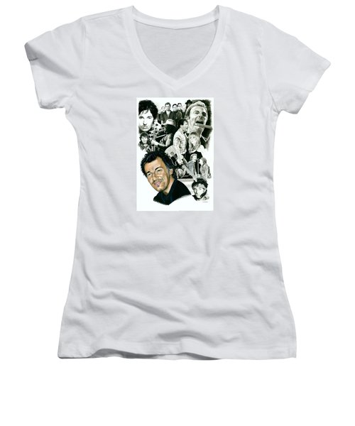 Bruce Springsteen Through The Years Women's V-Neck T-Shirt (Junior Cut) by Ken Branch