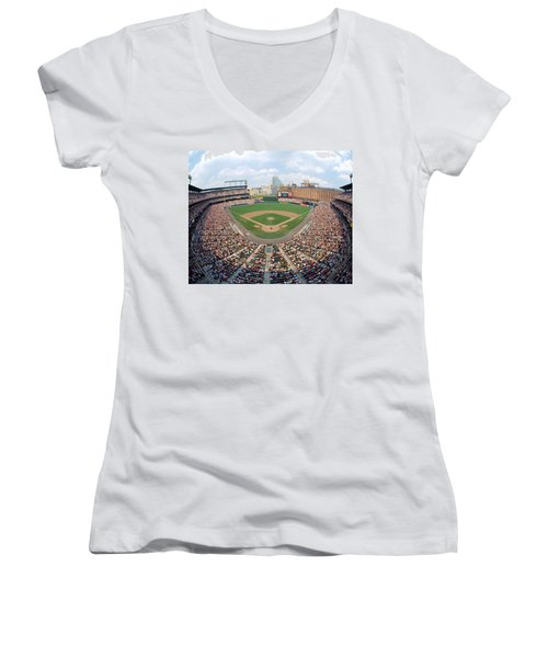 Camden Yards Baltimore Md Women's V-Neck T-Shirt (Junior Cut) by Panoramic Images