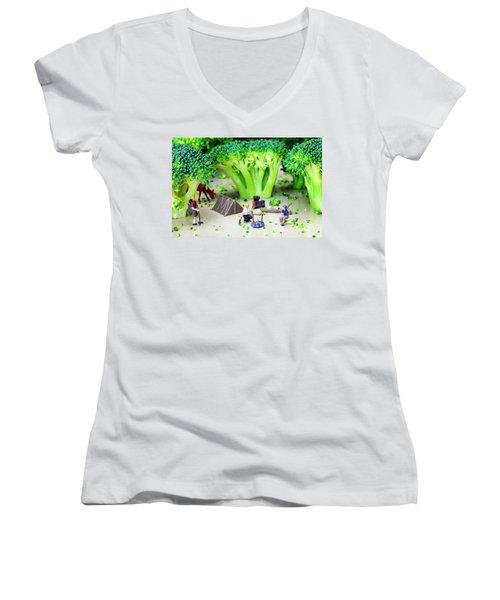 Camping Among Broccoli Jungles Miniature Art Women's V-Neck T-Shirt (Junior Cut) by Paul Ge