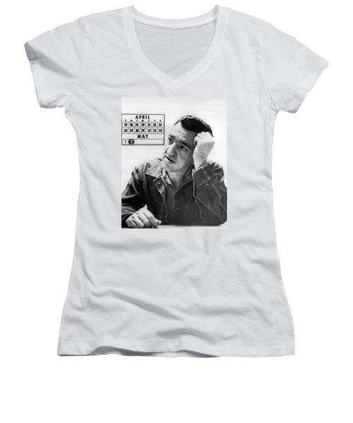 Caryl Chessman Women's V-Neck T-Shirt (Junior Cut) by Underwood Archives