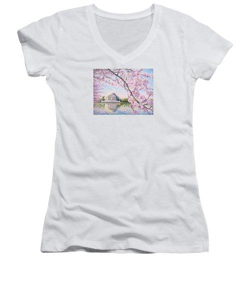 Jefferson Memorial Cherry Blossoms Women's V-Neck T-Shirt (Junior Cut) by Patty Kay Hall