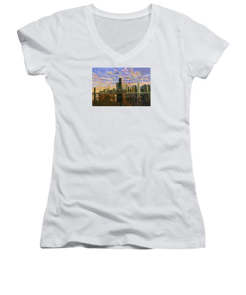 Chicago Women's V-Neck T-Shirt (Junior Cut) by Mike Rabe