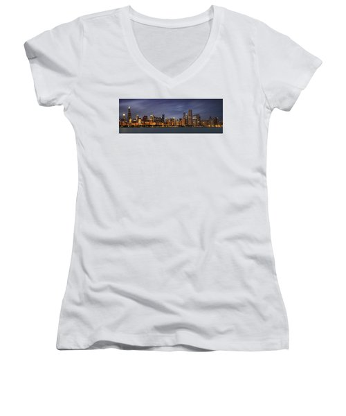 Chicago Skyline At Night Color Panoramic Women's V-Neck T-Shirt (Junior Cut) by Adam Romanowicz