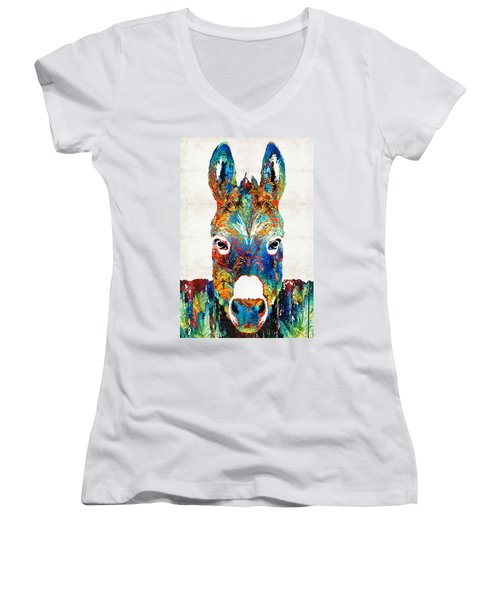 Colorful Donkey Art - Mr. Personality - By Sharon Cummings Women's V-Neck T-Shirt (Junior Cut) by Sharon Cummings