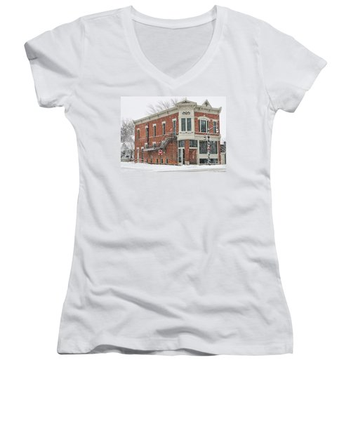 Downtown Whitehouse  7031 Women's V-Neck T-Shirt (Junior Cut) by Jack Schultz