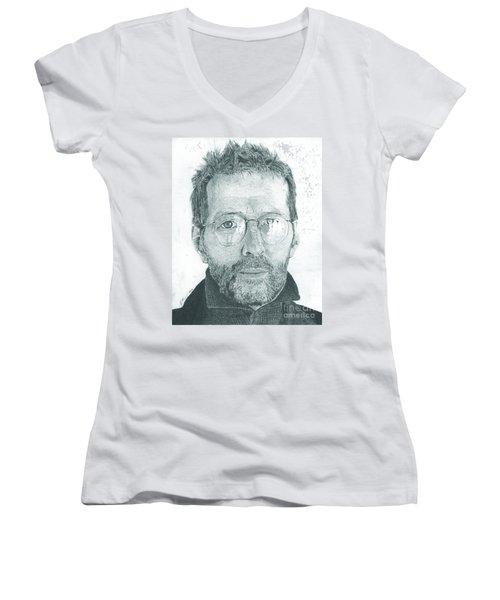 Eric Clapton Women's V-Neck T-Shirt (Junior Cut) by Jeff Ridlen