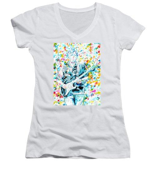 Eric Clapton - Watercolor Portrait Women's V-Neck T-Shirt (Junior Cut) by Fabrizio Cassetta