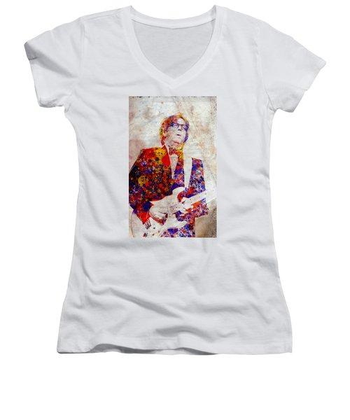 Eric Claptond Women's V-Neck T-Shirt (Junior Cut) by Bekim Art
