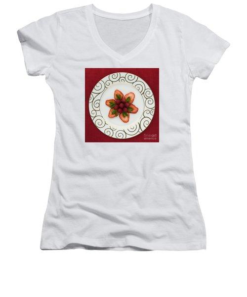 Flowering Fruits Women's V-Neck T-Shirt (Junior Cut) by Anne Gilbert