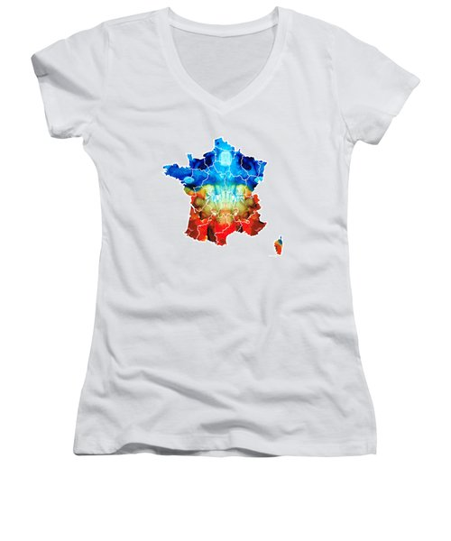 France - European Map By Sharon Cummings Women's V-Neck T-Shirt (Junior Cut) by Sharon Cummings