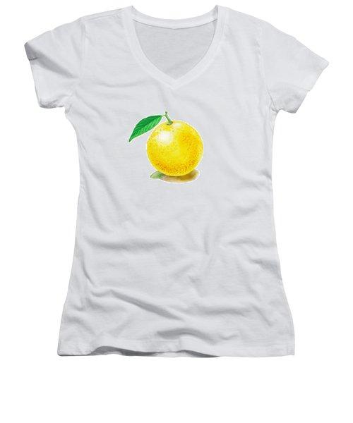 Grapefruit Women's V-Neck T-Shirt (Junior Cut) by Irina Sztukowski