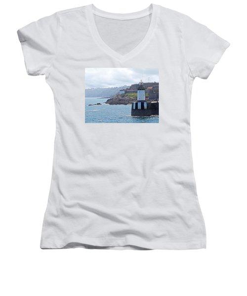 Guernsey Lighthouse Women's V-Neck T-Shirt (Junior Cut) by Gill Billington