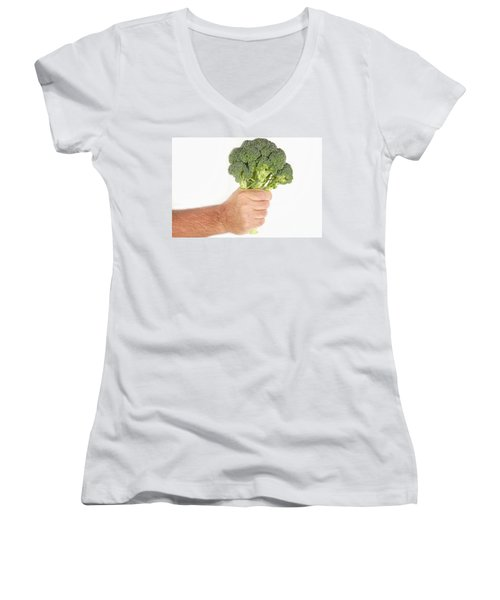 Hand Holding Broccoli Women's V-Neck T-Shirt (Junior Cut) by James BO  Insogna