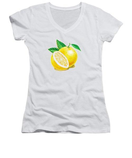 Happy Grapefruit- Irina Sztukowski Women's V-Neck T-Shirt (Junior Cut) by Irina Sztukowski