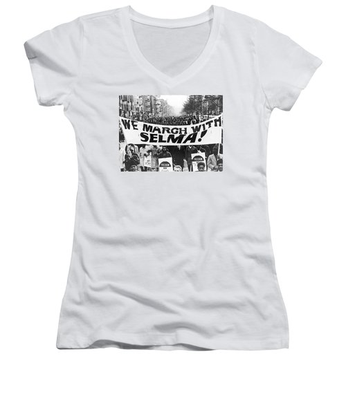 Harlem Supports Selma Women's V-Neck T-Shirt (Junior Cut) by Stanley Wolfson