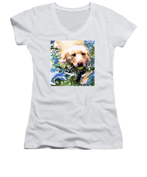 Head Above Water Women's V-Neck T-Shirt (Junior Cut) by Molly Poole