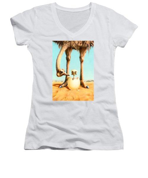 Hello Mum Women's V-Neck T-Shirt (Junior Cut) by Andrew Farley