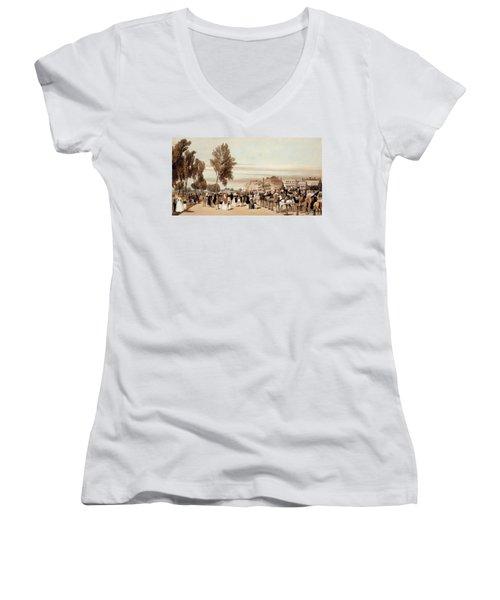 Hyde Park, Towards The Grosvenor Gate Women's V-Neck T-Shirt (Junior Cut) by Thomas Shotter Boys