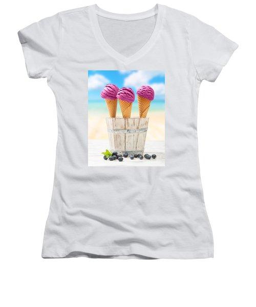 Icecreams With Blueberries Women's V-Neck T-Shirt (Junior Cut) by Amanda Elwell