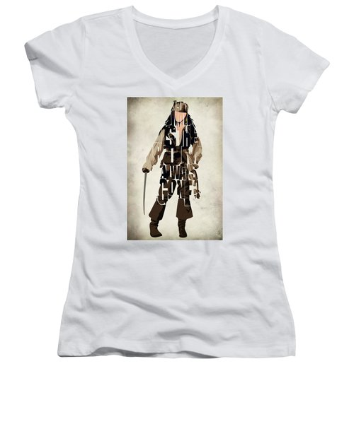 Jack Sparrow Inspired Pirates Of The Caribbean Typographic Poster Women's V-Neck T-Shirt (Junior Cut) by Ayse Deniz