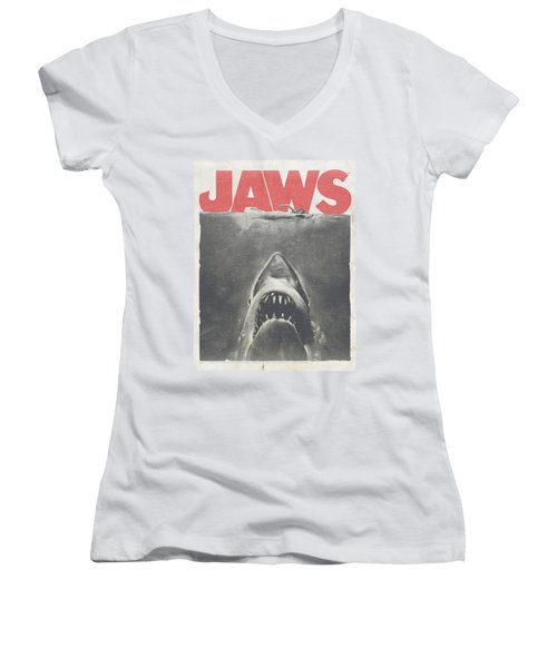 Jaws - Classic Fear Women's V-Neck T-Shirt (Junior Cut) by Brand A