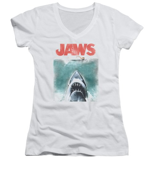 Jaws - Vintage Poster Women's V-Neck T-Shirt (Junior Cut) by Brand A