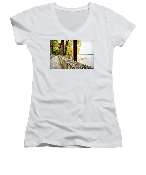 Katy Trail Near Coopers Landing Women's V-Neck T-Shirt (Junior Cut) by Cricket Hackmann