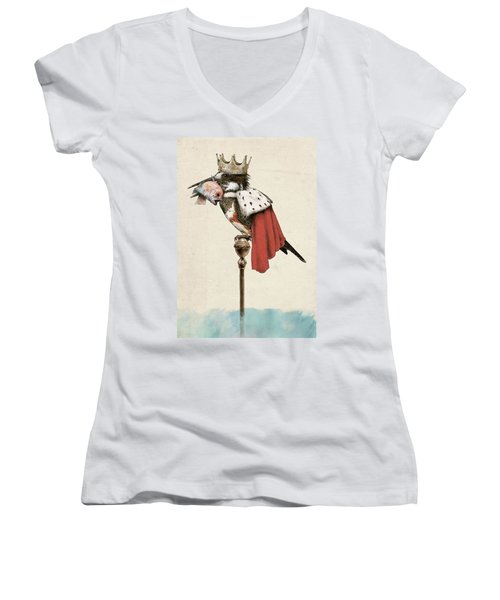 Kingfisher Women's V-Neck T-Shirt (Junior Cut) by Eric Fan