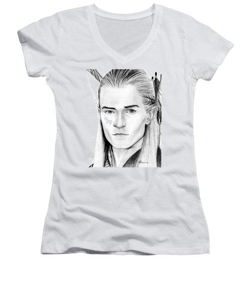 Legolas Greenleaf Women's V-Neck T-Shirt (Junior Cut) by Kayleigh Semeniuk