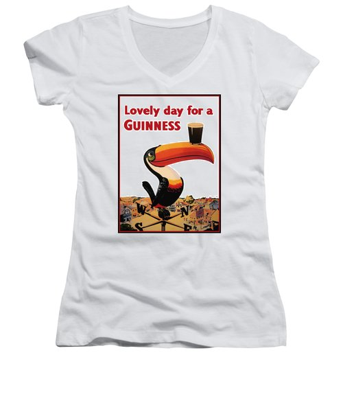 Lovely Day For A Guinness Women's V-Neck T-Shirt (Junior Cut) by Georgia Fowler