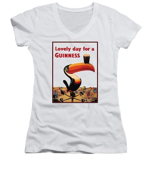 Lovely Day For A Guinness Women's V-Neck T-Shirt (Junior Cut) by Nomad Art