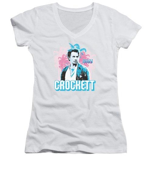 Miami Vice - Crockett Women's V-Neck T-Shirt (Junior Cut) by Brand A