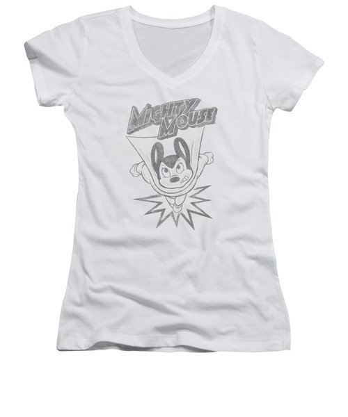 Mighty Mouse - Bursting Out Women's V-Neck T-Shirt (Junior Cut) by Brand A