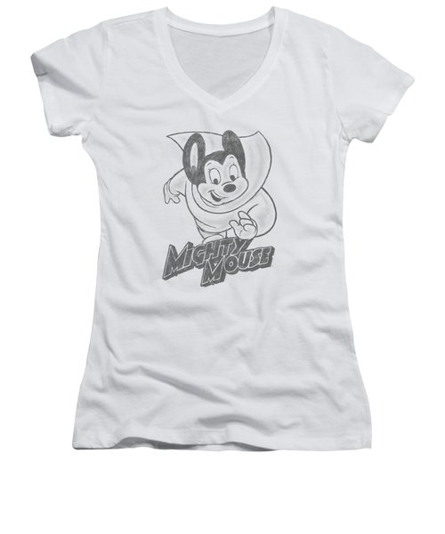 Mighty Mouse - Mighty Sketch Women's V-Neck T-Shirt (Junior Cut) by Brand A