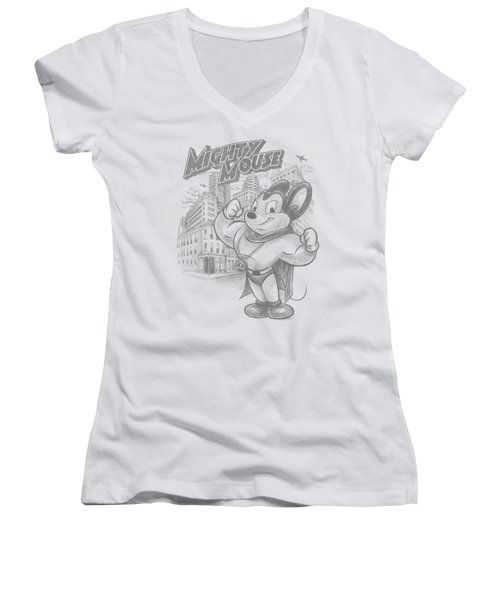 Mighty Mouse - Protect And Serve Women's V-Neck T-Shirt (Junior Cut) by Brand A