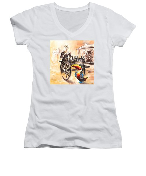 Molly Malone Women's V-Neck T-Shirt (Junior Cut) by Miki De Goodaboom